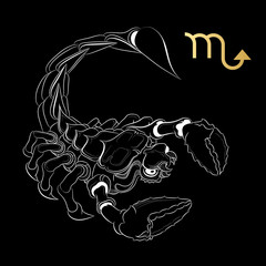Zodiac sign Scorpio isolated on black background. Vector.