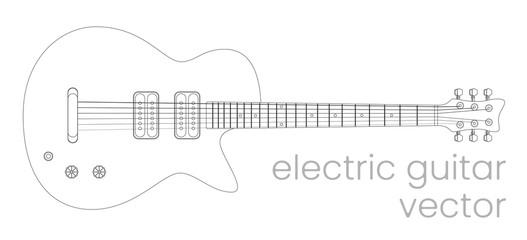 Electric guitar illustration. Rock music instrument. Vector line sketch