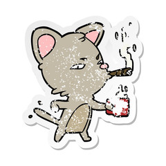 distressed sticker of a cartoon cat with coffee and cigar