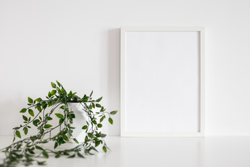 Frame mock up and ivy plant against white wall.