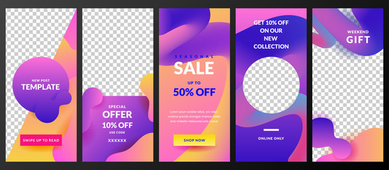 Stories vector template for Instagram social network. Trendy design for fashion sale and special offer flyers.