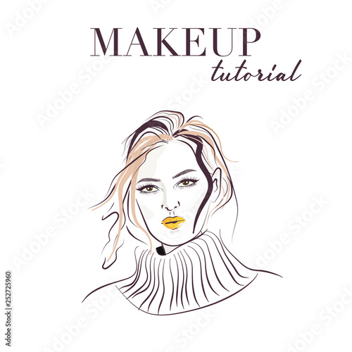 b51ba7aca2c Woman face hand drawn. Makeup model face vector sketch. Young woman with  bright lips illustration. Portrait with beautiful young attractive girl  model.