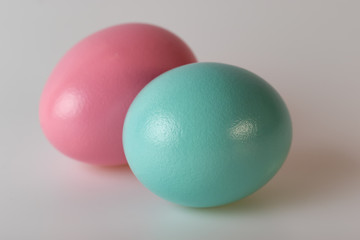 Close Easter Painted Eggs Selective Focus Gray Background