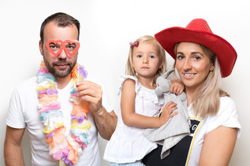 party family photo booth girl dad mom mother parents props