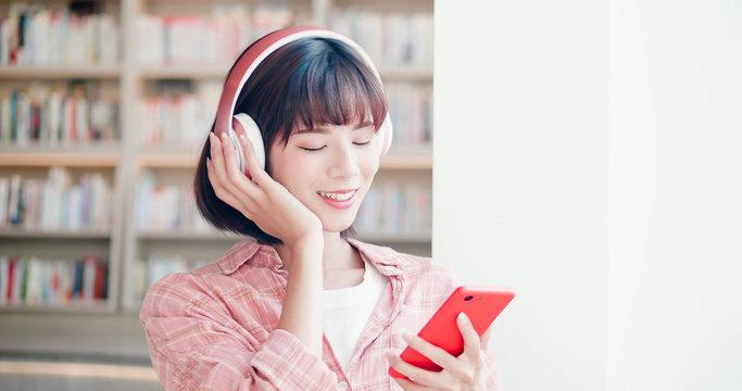 young woman enjoy music