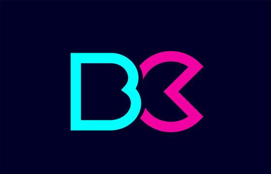blue pink colorful alphabet letter logo combination bc b c design