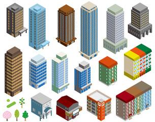 いろいろな建物の立体イラスト