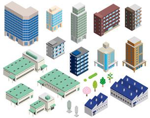 いろいろな建物の立体イラスト - fototapety na wymiar