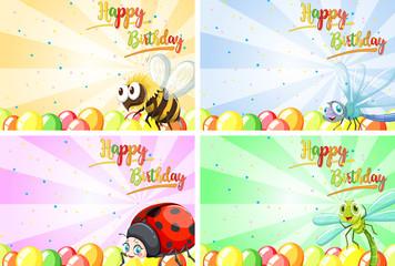 Set of happy birthday animal cards