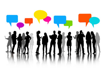 Talking Business People Silhouettes Isolated On White With Empty Colorful Speech Bubble
