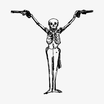 Skeleton with guns