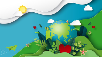 Paper art of green nature and earth day concept background template.Ecology and environment conservation creative idea concept.Vector illustration.
