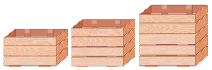 Set of wooden boxes