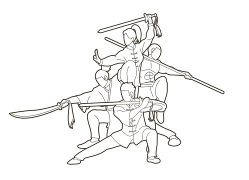 Group of People Kung Fu fighter, Martial arts with weapons action cartoon graphic vector.