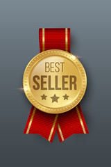 Award medal 3d realistic vector color illustration