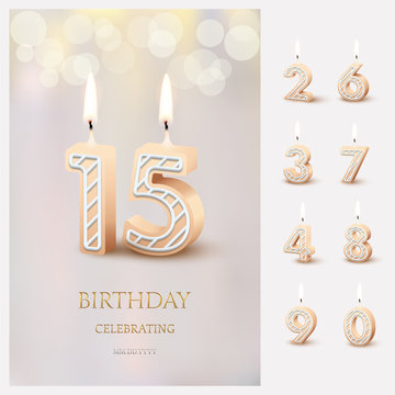 Burning number 15 birthday candles with birthday celebration text on light blurred background and burning birthday candle set for other dates. Vector vertical birthday invitation template.