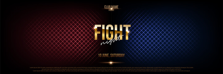 Battle banner vector concept. Fight night competition illustration with glowing versus symbol. Night club event promotion. MMA, wrestling, boxing fight poster