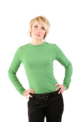 An frustrated blonde woman with hands on hips.