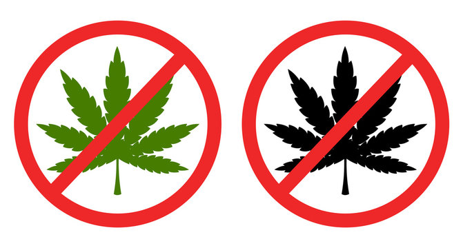 sign icon No marijuana, cannabis forbidden vector file.