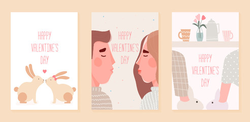Romantic set cards of cute illustration for valentines day. February 14. Love, love story, relationship, kiss. Vector design concept.