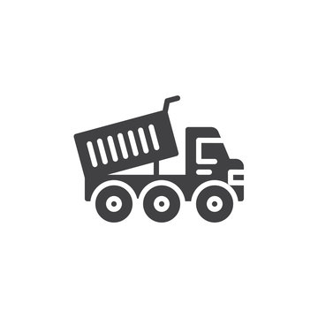 Heavy truck vector icon. filled flat sign for mobile concept and web design. Dump truck glyph icon. Construction machine symbol, logo illustration. Pixel perfect vector graphics