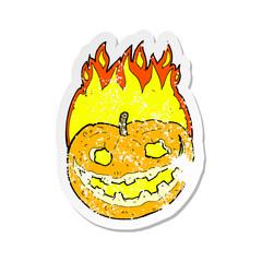 retro distressed sticker of a cartoon pumpkin