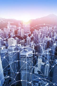 Modern urban skyline with high-speed data and internet communication network