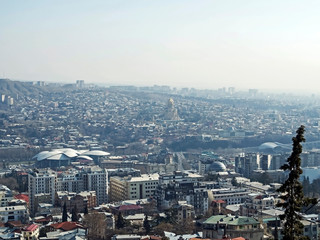top view of Tbilisi from the Holy mountain