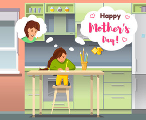 Flat Happy Mother Day Baby Girl Thinking about Mom