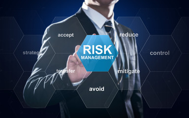 Businessman pointing at risk management concept on screen Wall mural