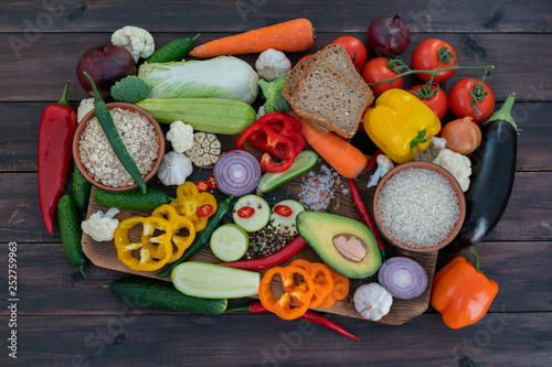 A mixture of vegetarian food for the Mediterranean diet