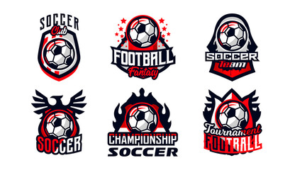 Set of football club logos, soccer ball. Soccer ball emblem, shield. Football school tournament, goal, competition, star, fire, flame, eagle, wing. Colorful Vector Illustration