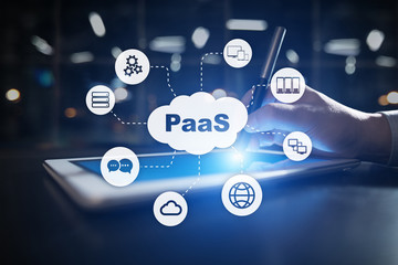 PaaS, Platform as a Service. Internet and networking concept.