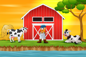 Farmer and farm animal in front of the barn