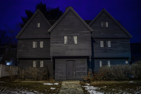 Salem, USA- March 03, 2019: Streets of Salem, City in Massachusetts It's famous for its 1692 witch trials, during which several locals were executed for allegedly practicing witchcraft