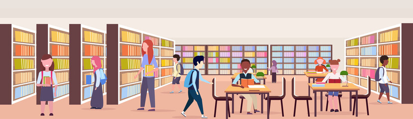 mix race pupils choosing and reading books workplace desks study area bookshelves modern library interior education knowledge concept flat horizontal banner full length