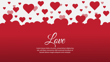 """Valentine's Day Simple background design with lots of flying hearts and """"love"""" word. vector illustration."""