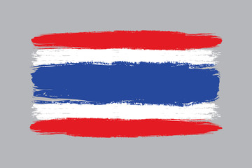 Thailand flag brush,hand drawn