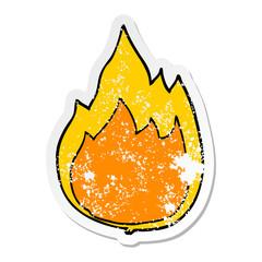 distressed sticker of a cartoon fire