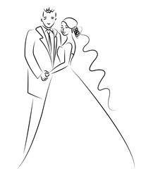 just married couple cartton drawing, illustration vector