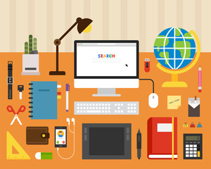 Various items on top of books. flat design style minimal vector illustration
