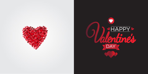 Valentine's Day greeting with Composition Heart Shapes isolated on various Background.