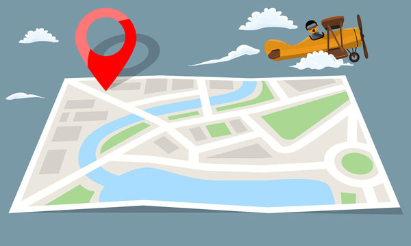 Retro vintage plane flying over folded city map paper and red pin. Flat vector illustration.