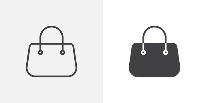 Purse handbag icon. line and glyph version, outline and filled vector sign. Women Bag linear and full pictogram. Symbol, logo illustration. Different style icons set
