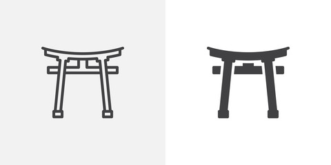 Torii gate icon. line and glyph version, outline and filled vector sign. Shinto Shrine linear and full pictogram. Symbol, logo illustration. Different style icons set Wall mural