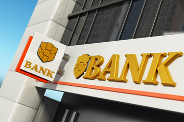 Bank signboard with fictitious logo on building exterior. 3D illustration