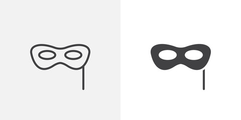 Carnival mask icon. line and glyph version, outline and filled vector sign. Face mask linear and full pictogram. Symbol, logo illustration. Different style icons set