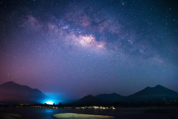 Milky Way galaxy landscape rivers and light with mountains background in the  dark night sky