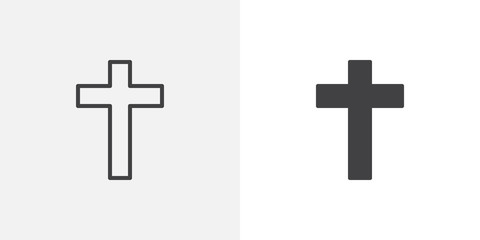 Religion cross icon. line and glyph version, outline and filled vector sign. Holy cross linear and full pictogram. Symbol, logo illustration. Different style icons set