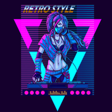 DJ woman in futuristic synth retro wave style 80s poster illustration.